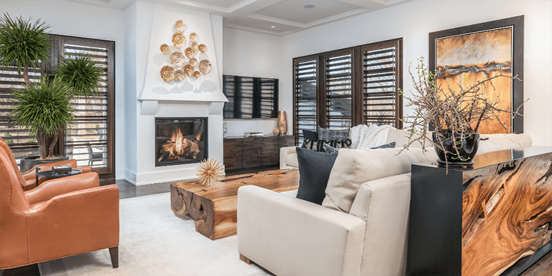 custom hardwood plantation shutters living room