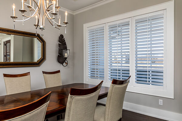 dining room window plantation shutters