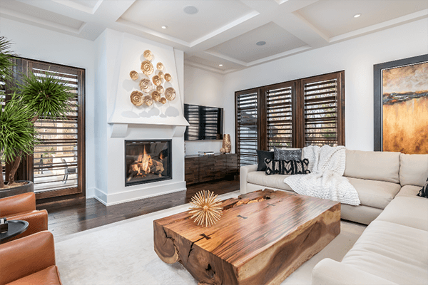 stained hardwood shutters