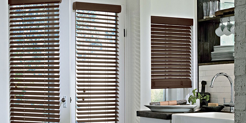 wooden blinds parkland hunter douglas kitchen